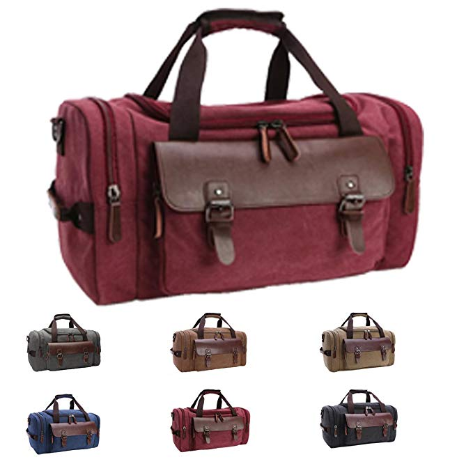 Queenie - Large Unisex Canvas Overnight Travel Tote Luggage Weekend Duffel Bag Shoulder Bag Gym Bag