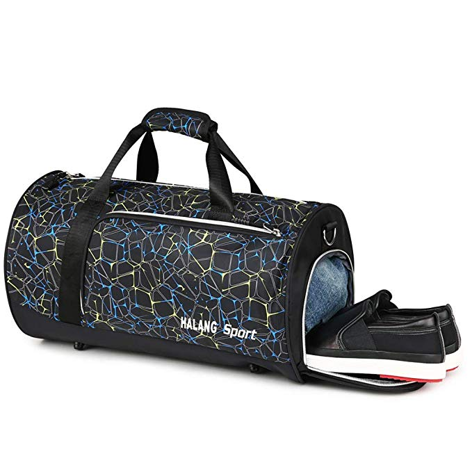 Gym Bag for Men with Wet Pocket Shoe Compartment Duffle Mens Gym Duffle Sports Wet Bag 40L