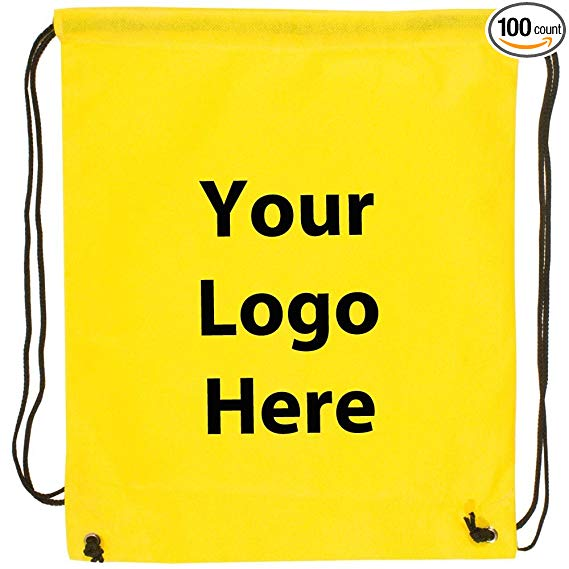 "Sunrise Identity Econo String Backpack - 100 Quantity - 1.30 Each - PROMOTIONAL PRODUCT/BULK with YOUR LOGO/CUSTOMIZED. Size: 14"" W x 11"" H."