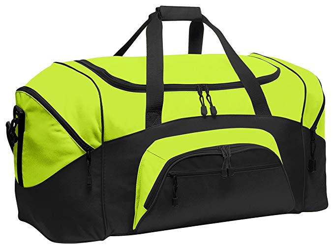 Port & Company Color Block Sport Zipper Duffel Bag_Safety Yellow/Black_OSFA