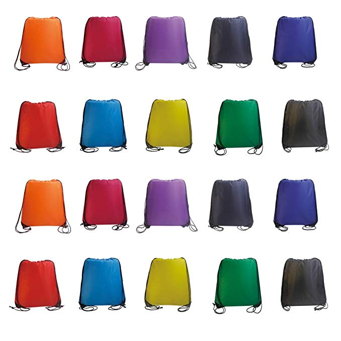 IMI bag 20PCS Folding Ripstop Fabric Drawstring Backpacks for Gym Traveling Partys Promotional Sport Home Storage.NO Logo School Kids Bags (MIX)