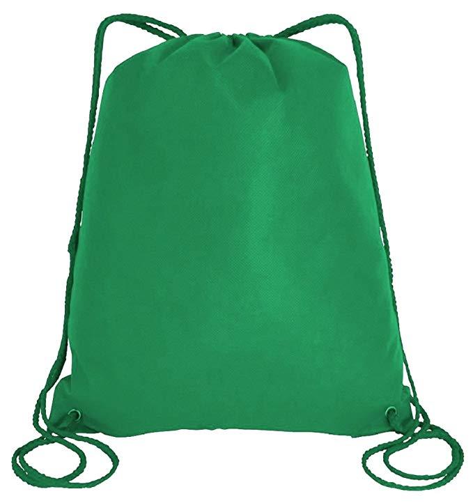 Large Drawstring Backpacks Non-Woven Cinch Bags Sportpacks (Pack of 12)