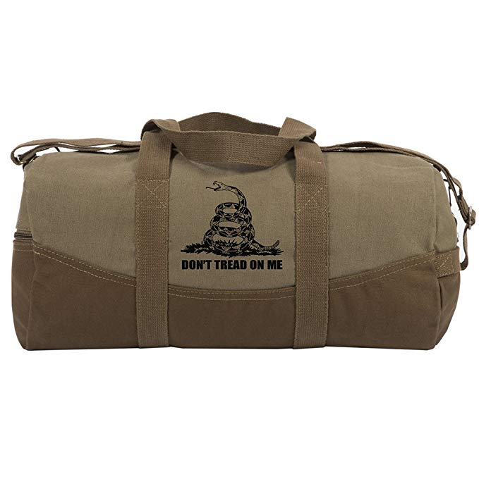 """Don't Tread On Me Rattlesnake Two Tone Canvas 19"""" Duffel Bag with Brown Bottom"""