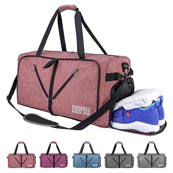 SUNPOW 65L Packable Travel Duffle Bag, Foldable Sport Gym Bag with Shoe Compartment, Lightweight Luggage Duffel Bags (Orange-Pink, 65 L)