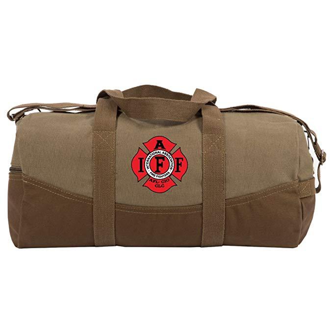 "IAFF Fire Fighters Logo Two Tone 19"" Duffle Bag, Brown Bottom, Detachable Strap"