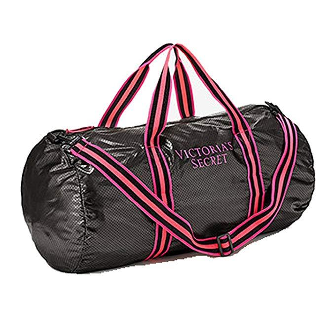 Victoria's Secret Lightweight Packable Weekender Duffle Bag Black/Pink