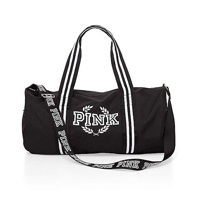 Victoria's Secret PINK Gym Duffle Tote Bag, Black/White crest