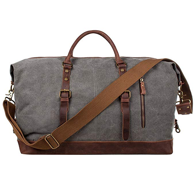 AIDERLY Oversized Duffel Bag Canvas Genuine Leather Travel Tote Duffel Shoulder Handbag Weekend Bag (gray)