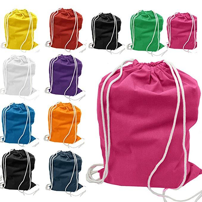 (36 Pack) 3 Dozen - Economical Cotton Sport Drawstring Bags Cinch Packs by ToteBagFactory