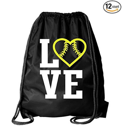 Kenz Laurenz Softball Drawstring Bag - Cinch Sack String Backpack Back Pack Tote