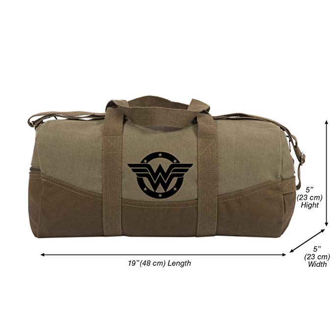 Wonder Woman logo Two Tone Brown 19� Canvas Duffel Bag with Detachable Strap