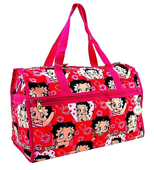 Betty Boop Large Duffel Bag, Durable Microfiber (Pink)