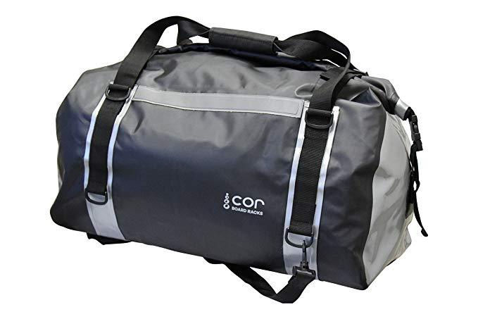 COR Waterproof 60L Duffel Bag 100% Waterproof Dry Bag Duffel Bag - Lightweight, Durable, Comfortable, Versatile Perfect for Kayaking, Rafting, Travel, Surfing, Skiing (Black and Grey)