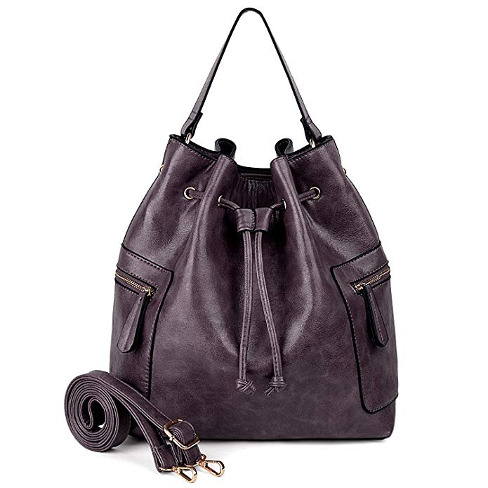 UTO Women Drawstring Bucket Bag Crossbody Shoulder Handbag