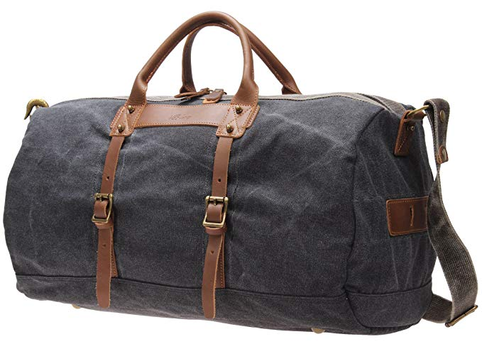 Iblue Overnight Weekender Bag Canvas Leather Travel Duffel Tote i518 (grey)