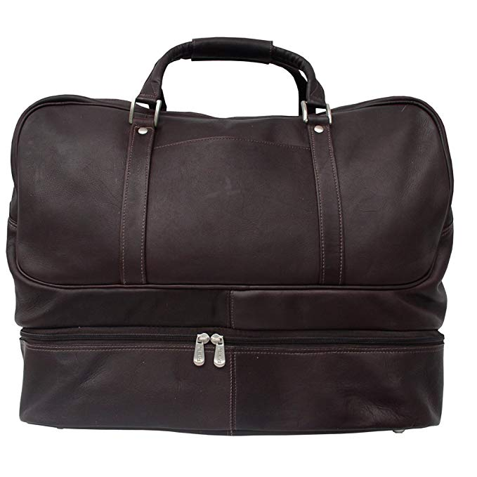 Piel Leather False-Bottom Sports Bag, Chocolate, One Size
