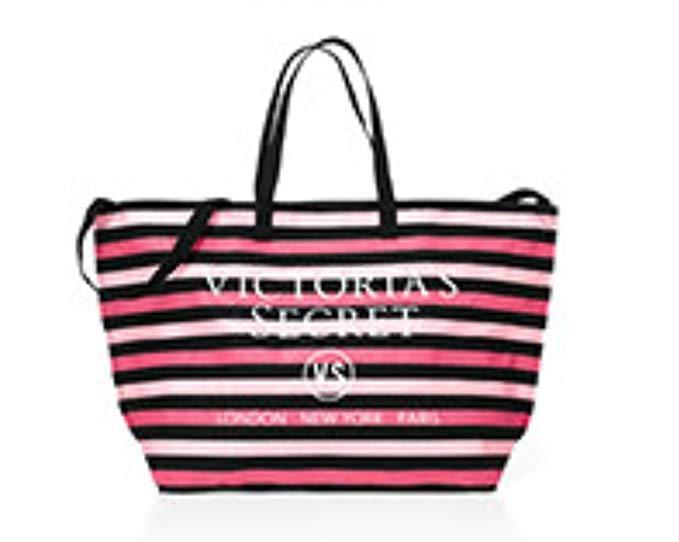 Victoria's Secret Signature Stripe Weekender Tote Bag
