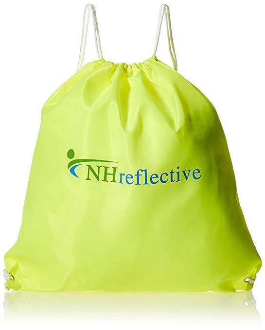 NHreflective High Visibility String Backpack - Neon Yellow Drawstring Tote Bag