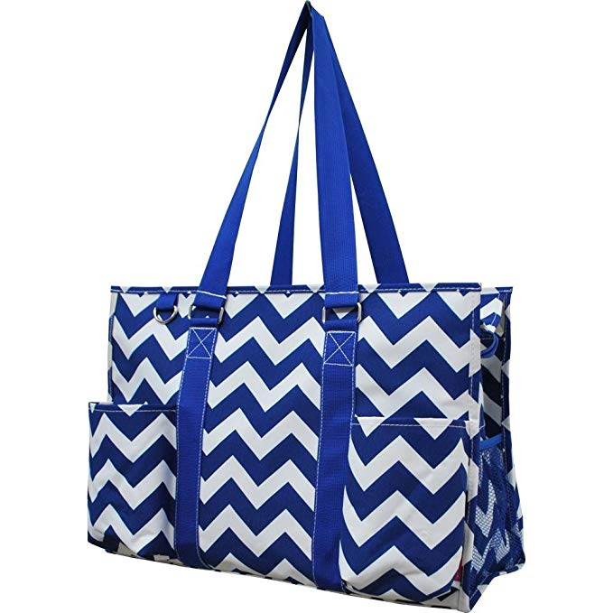 Large Canvas Zippered Beach Tote Bag With Pockets