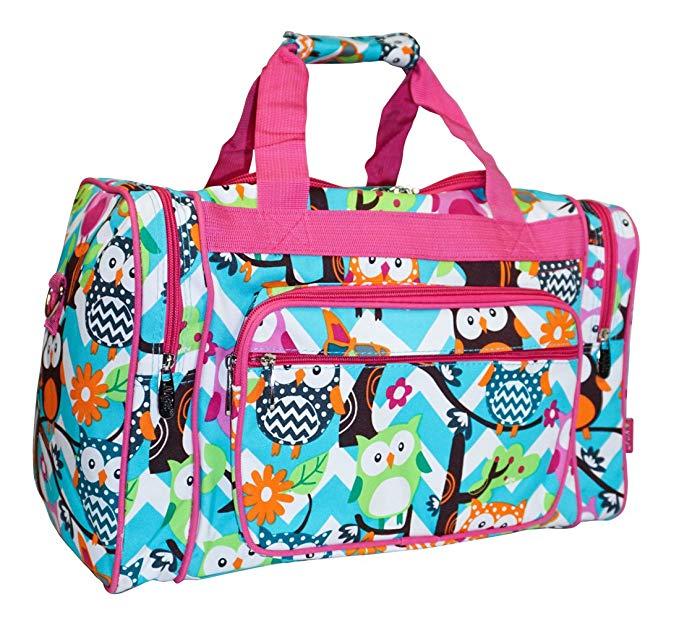 NGIL Owl Teal Blue Small Duffle Bag (Pink)