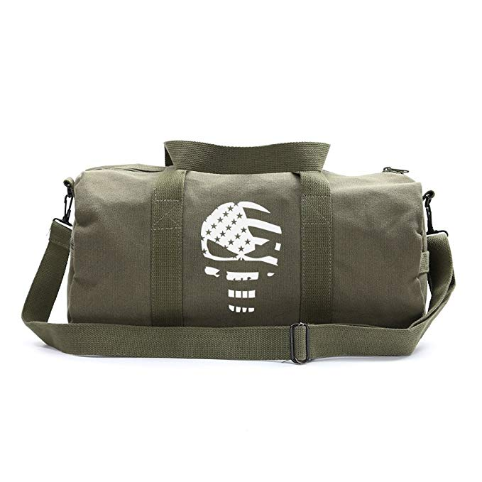 The Punisher Skull American Flag Vintage Army Canvas Duffel Sport Bags