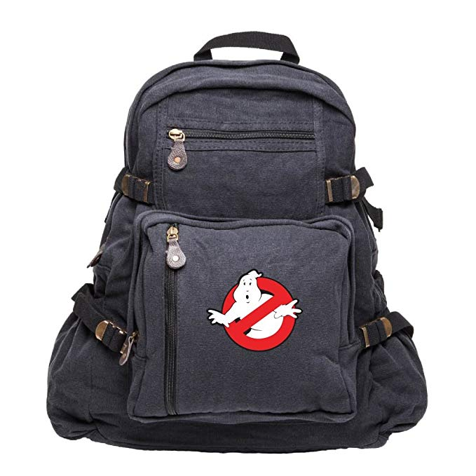Ghostbusters Logo Army Sport Heavyweight Canvas Backpack Bag