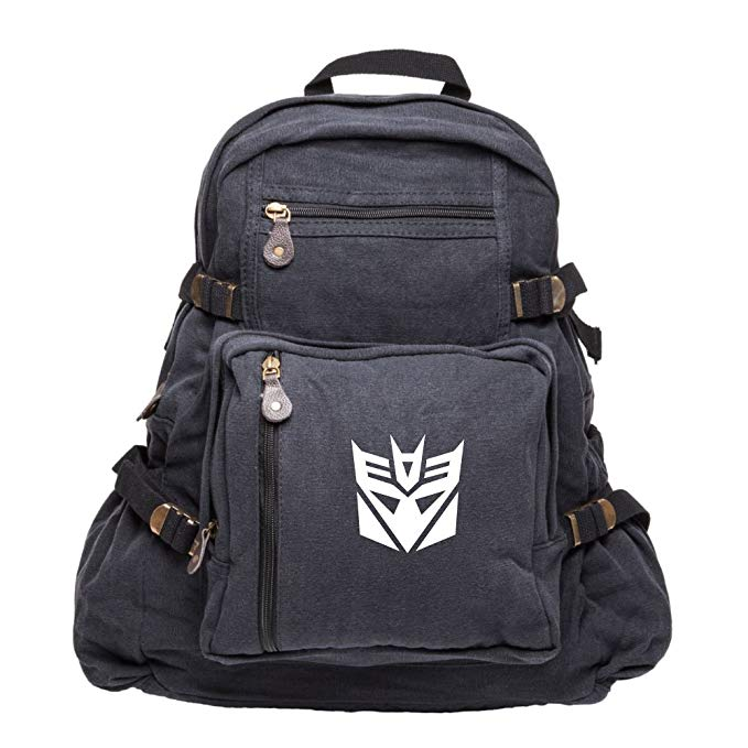 Transformers Robots in Disguise Decepticon Symbol MIlitary Backpack School Bag