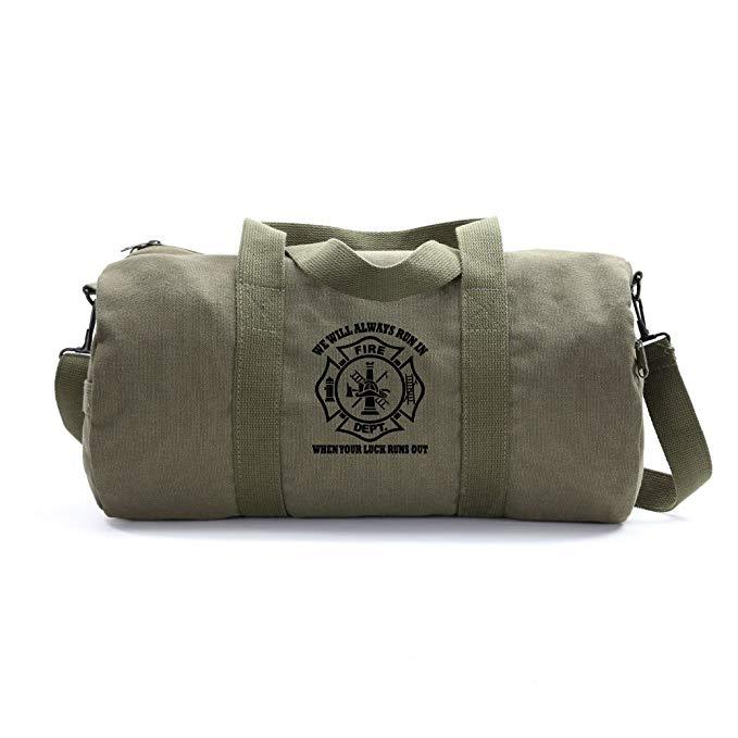 Firefighter Logo on a Vintage Canvas Duffel Bag Unisex Travel Bag