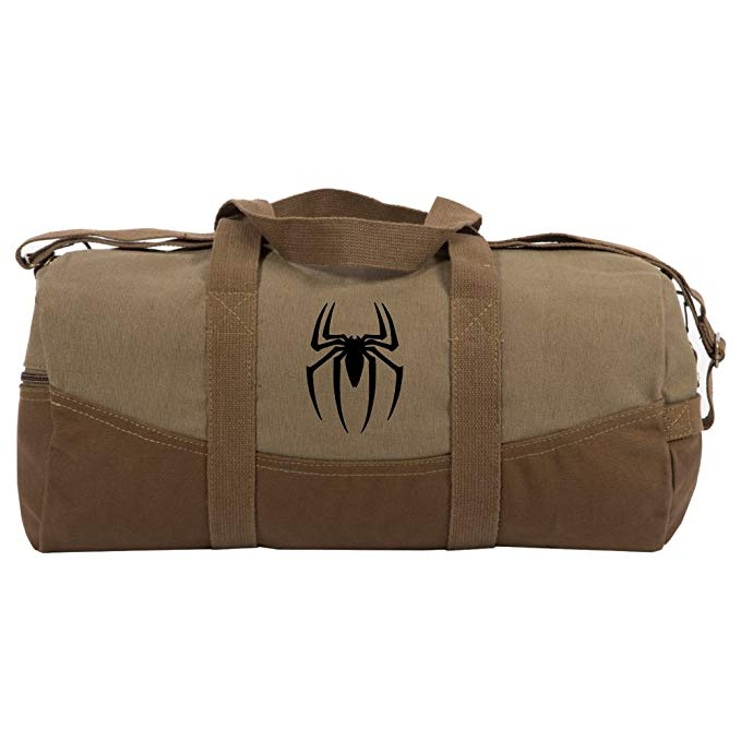 Spiderman Symbol Two Tone 19� Duffle Bag with Brown Bottom, Detachable Strap