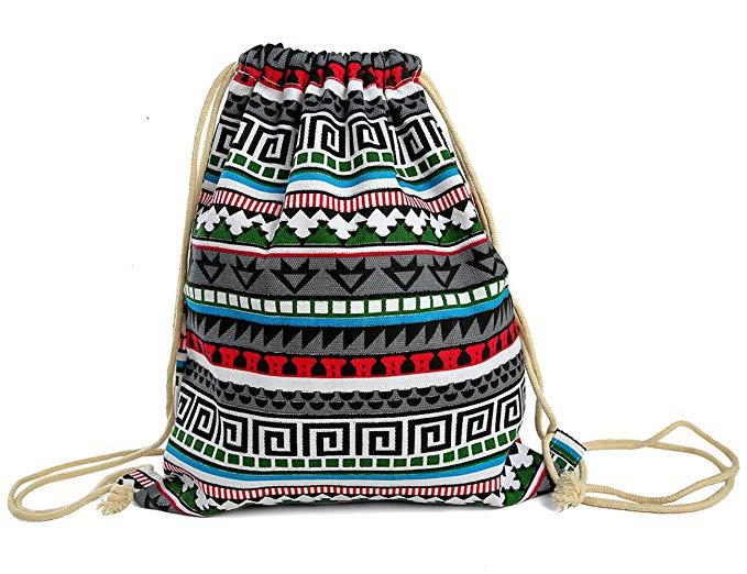 iSuperb Canvas Drawstring Backpack bag Sack bag Stylish Lightweight Cute for Excursion