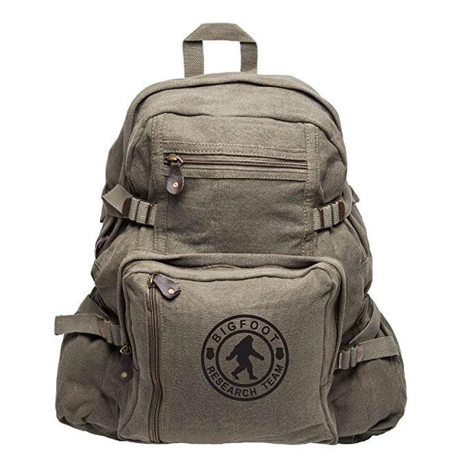 Bigfoot Research Team Army Sport Heavyweight Canvas Backpack Bag