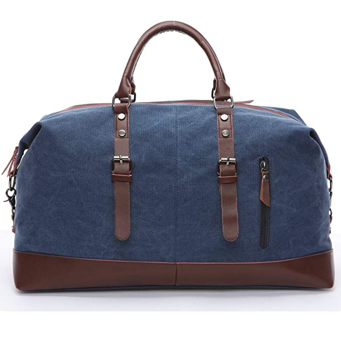 Travel Duffel Bags Weekend Bag Men Canvas&PU Leather Travel Bag Unisex Carry On Bag Overnight Bags