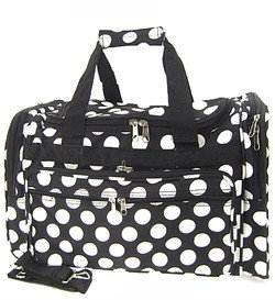 "Large 22"" Retro Black White Large Polka Dots Print Duffle Dance Cheer Gym Bag"