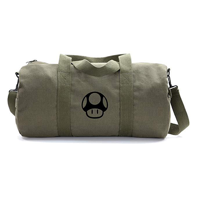 Mario Bros 1up Mushroom Army Heavyweight Canvas Duffel Bag