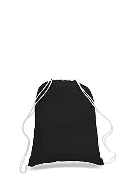 SET OF 12-100% Percent Cotton Gym Drawstring Backpacks Bags