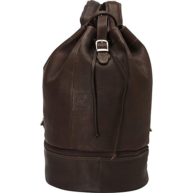 Piel Leather Navy Drawstring Backpack, Chocolate, One Size
