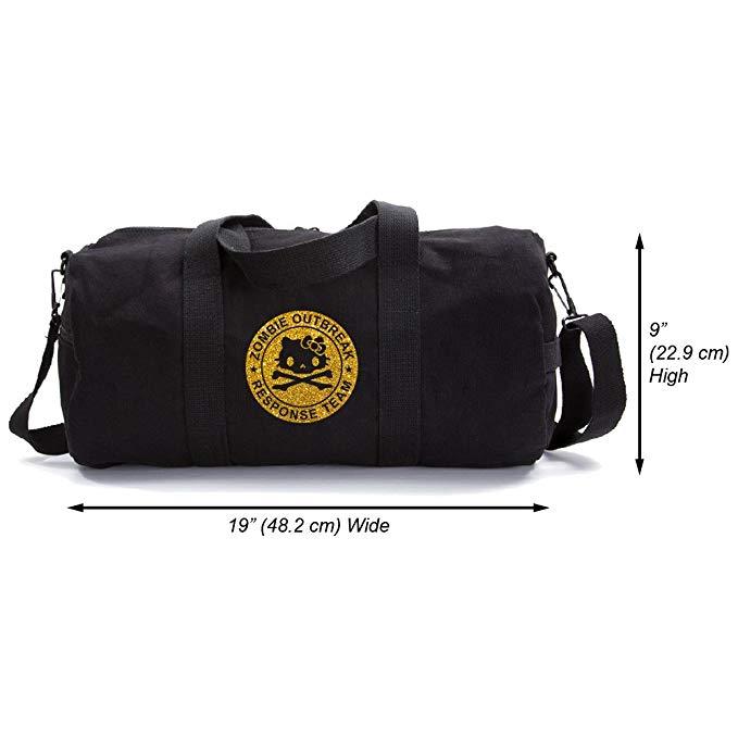 Zombie Outbreak Response Team Hello Kitty Duffel Bag, Black & Gold (large)