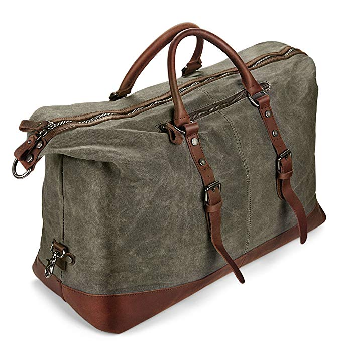 H-ANDYBAG Weekender Bag Oversized Waxed Pure Cotton Canvas Travel Duffel Bag