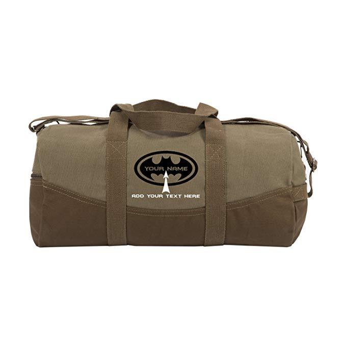 "Personalized Custom Batman Two Tone Brown 19"" Sport Travel Weekender Duffel Bag"