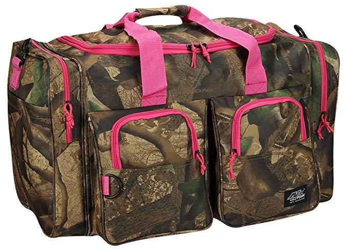 Womens Large Outdoor 30 Inch Pink Camo Duffel Duffle Gear Sport Gym Shoulder Bag + Key ring carabiner