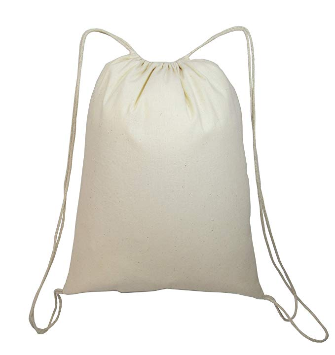 (36 Pack) 3 Dozen - Economical Cotton Sport Drawstring Bags Cinch Packs by ToteBagFactory