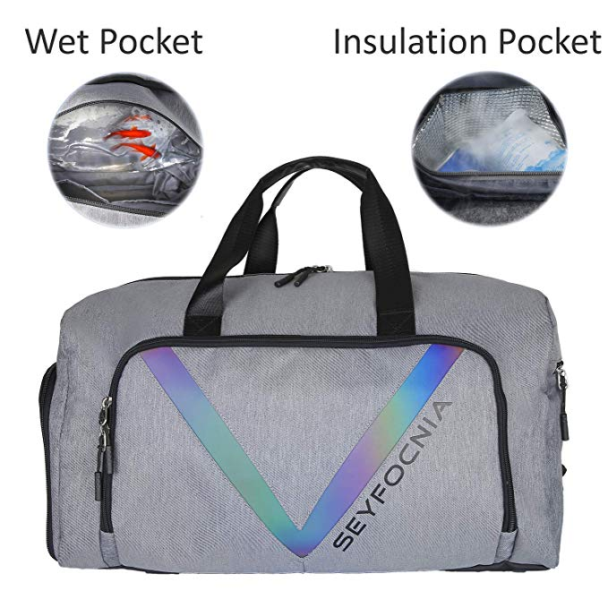 Sports Gym Bag with Shoe Compartment, Waterproof Weekender Bag Overnight Duffle Bag for Mens or Women