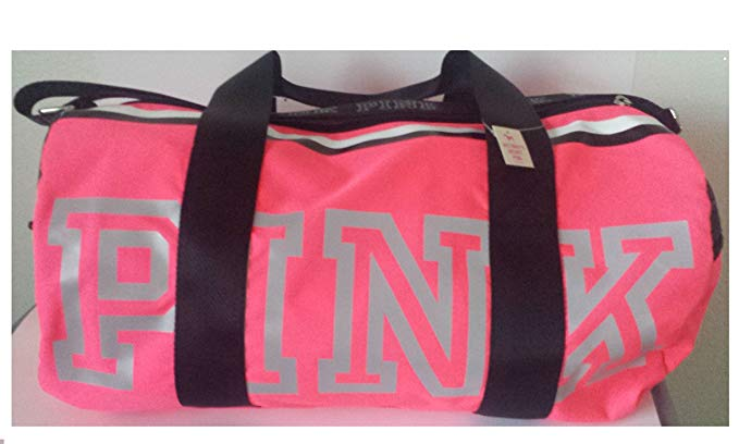 Victoria's Secret Pink Gym Duffle Bag Reflective Logo-Neon Hot Pink