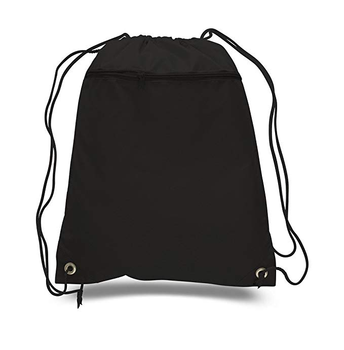 Durable Polyester Drawstring Bag W/Front Zippered Pocket, 15 x 18 by SHOPINUSA