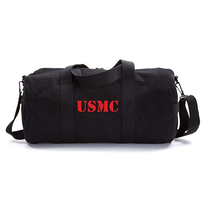 USMC United States Marine Corps Text Army Sport Heavyweight Canvas Duffel Bag