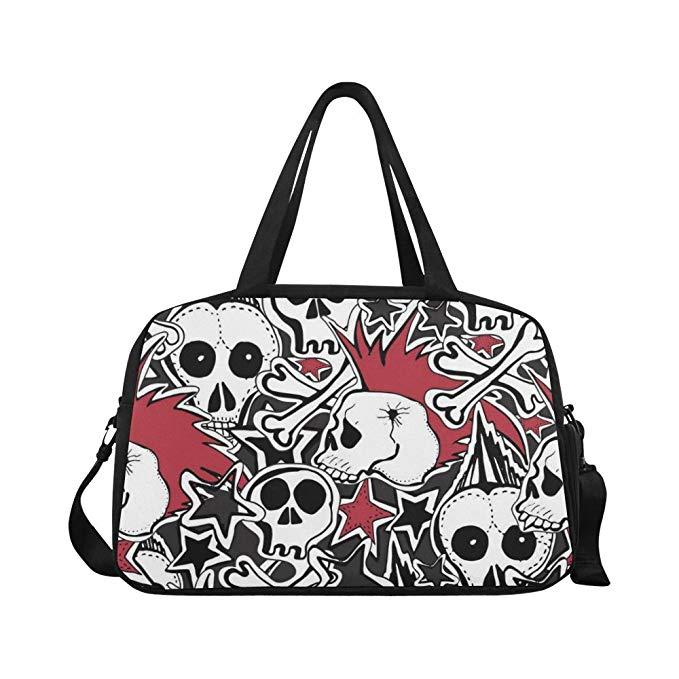 InterestPrint Floral Sugar Skull Canvas Tote Bag Shoulder Handbag for Women Girls