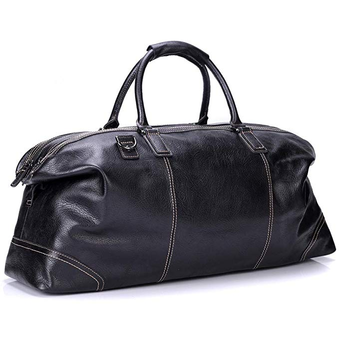 Bruce Wang Messenger Bag Genuine Leather Travel Duffel Bag Vintage Shoulder Bag Briefcase Large Lightweight Luggage