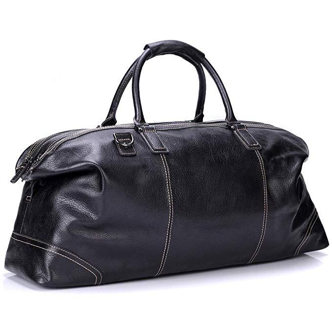 Bruce Wang Messenger Bag Genuine Leather Travel Duffel Bag Vintage Shoulder Bag Briefcase Large Lightweight Luggage
