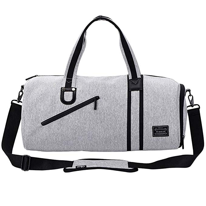 LYCSIX66 Small Sports Gym Bag Canvas Men's Travel Duffle Bag Overnight Carry On Luggage with Shoe Compartment and Wet Pocket, gray