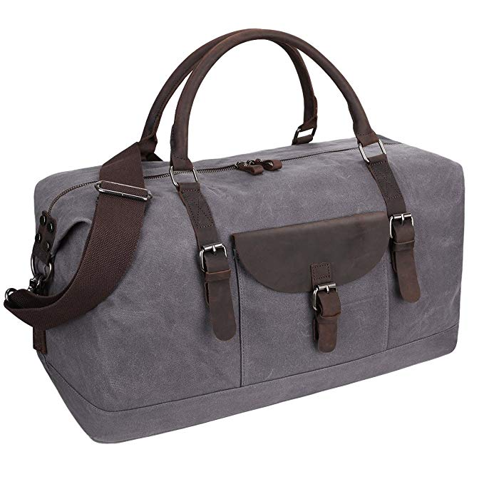 S-ZONE Oversized Travel Duffel Tote Bag Waterproof Waxed Canvas Crazy Horse Leather Trim Weekend Bag Carryon Overnight Handbag (Grey)